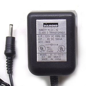 AC-DC ADAPTER 6VOLTS DC @ 500mA 1.3mm DC POWER ()