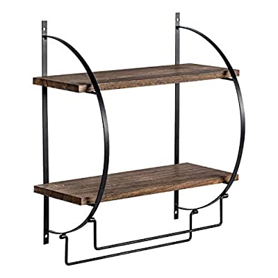 """Y&ME YM 2 Tier Bathroom Storage Shelf with Towel Bars Wall Mounted, Wood Floating Shelf with Towel Rods for Bathroom and Kitchen, 13.4"""" L x 5.5"""" W x 15"""" H - High Quality Floating Shelf: The bathroom shelf is made of solid paulownia wood boards and powder coated metal brackets, these floating shelves are damp proof, heat-resistant. with protective guards and towel holders, durable, bearing capacity strong Multi Function Storage Shelf : Add some additional storage to your bathroom, office, bedroom or kitchen utilizing this 13.4""""L x 5.5""""W x 15""""H Double Wall Mount Bathroom shelf. Easily installs and affixes to any wall, this wood floating shelf is perfect for anywhere storage is limited. Perfect for holding spare towels or bathroom décor Unique Rustic Design: Bathroom Shelf to instantly create storage space for towels, toiletries and more. With a simple design with existing modern decor. The bottom 2 tier bar is ideal for hanging towel. The 2 tier shelf is flat providing a stable surface to store everyday bath essentials such as bottled lotions and soap, stacks of folded linen and towels, as well as decorative items - shelves-cabinets, bathroom-fixtures-hardware, bathroom - 41cIRaOHdvL. SS400  -"""