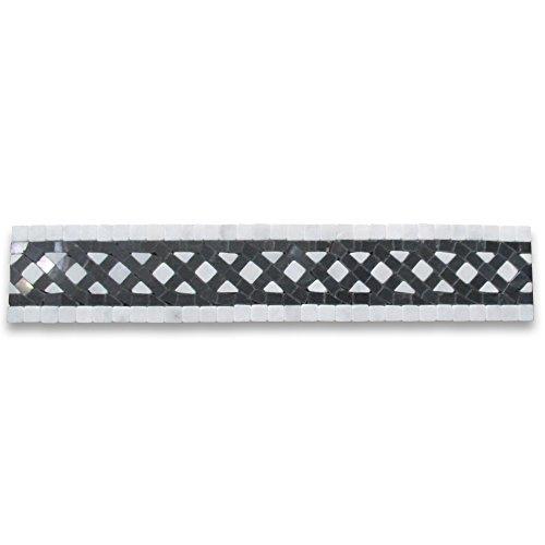 Quadra Bianco 2-1/4x12 Marble Mosaic Border Listello Tile Tumbled