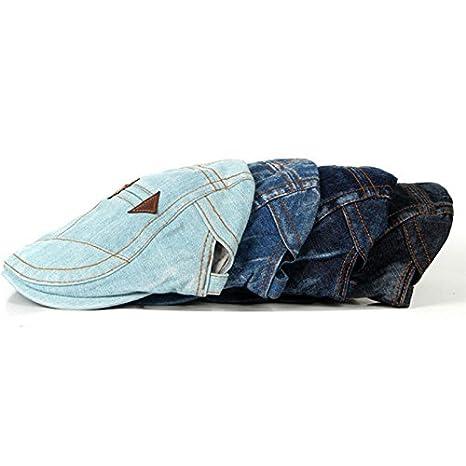 55-60CM Azul Fansi 1/pcs Unisex Denim Transpirable de algod/ón Boina Cap Retro Cap Sombrero Ajustable Gorra Plate Gorra Octogonal