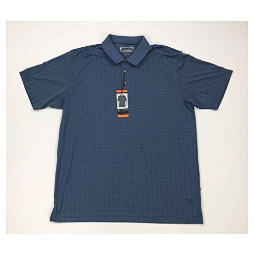 Pebble Beach Mens Golf Polo Shirt with Short Sleeve and Horizontal Textured Design, Navy Micro-Dot, X-Large