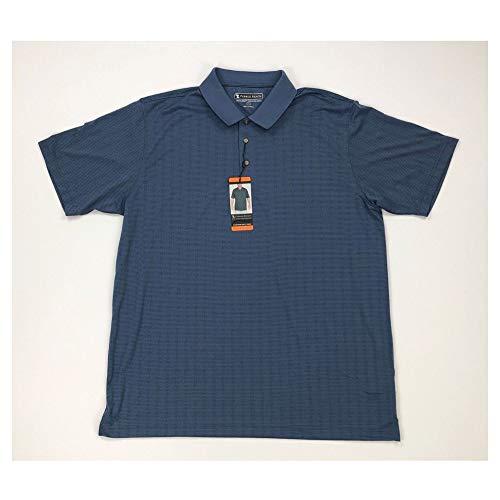 (Pebble Beach Mens Golf Polo Shirt with Short Sleeve and Horizontal Textured Design, Navy Micro-Dot, Medium)