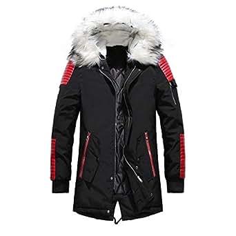 MinGe Winter Men's Big Fur Collar Hooded Warm Cotton