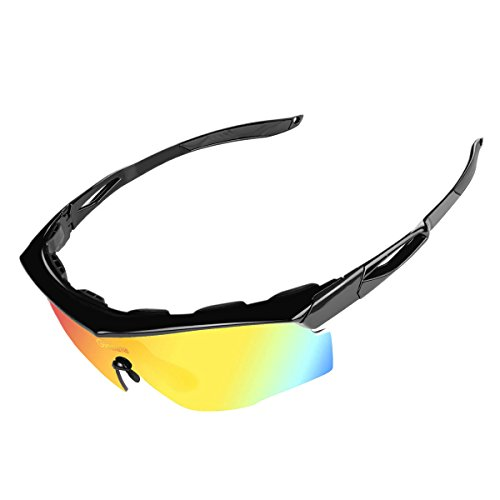 Glazata Polarized Sports Sunglasses with 5 Interchangeable Lenses Tr90 Unbreakable Frame for Cycling Running Driving Fishing Golf Baseball (BLACK, - Changeable Sunglasses