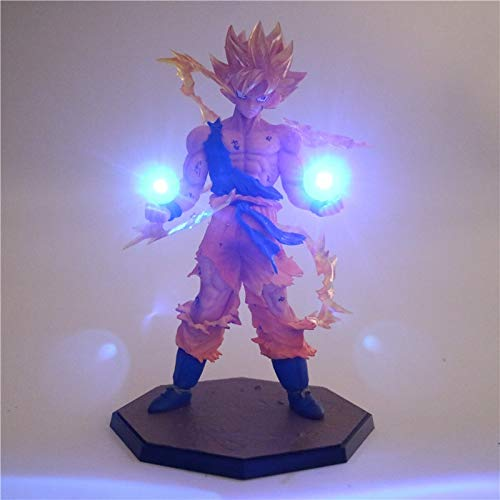 Dragon Ball Z Son Goku Holds 2 Light Orbs in his Hand Action Figure| Night Light DIY with 5 Style Colour| Use Batteries]()