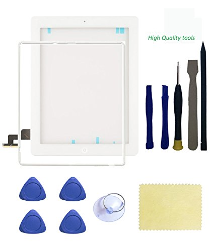 Ipad 2 Screen Replacement,FeiyueTech New White ipad 2 Digitizer Touch Screen Front Glass Assembly - Includes Home Button + Camera Holder +Frame Bezel+ PreInstalled Adhesive with Tools kit . (white)