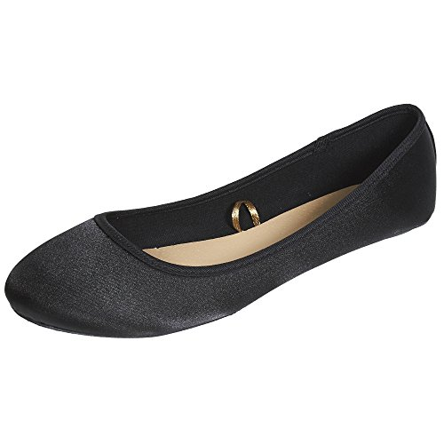 Sara Z Womens Fashion Casual Slip-On Classic Satin Ballet Flat Shoes Black ByMxiPn