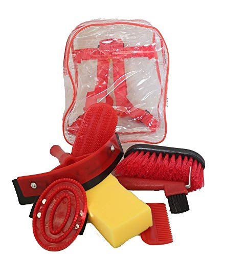 AJ Tack Wholesale Horse Grooming Kit 8 Piece Set for Children Brushes Sweat Scraper Rubber Massage Curry Mane and Tail Comb Hoof Pick Sponge Clear Back Pack Red