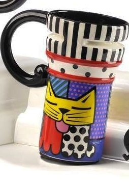 Romero Britto Travel Mug, Choice of Style (Yellow Cat)