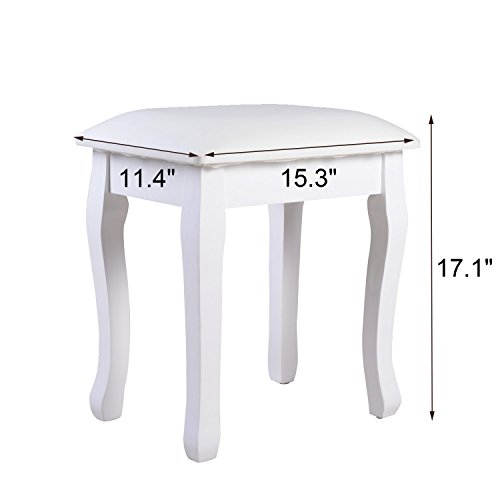 home, kitchen, furniture, bedroom furniture,  vanities, vanity benches 4 discount Organizedlife White Vanity Stool Padded Makeup Chair Bench promotion