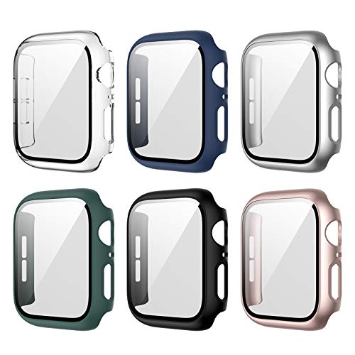 6 Pack Apple Watch Case with Tempered Glass Screen Protector for Apple Watch 42mm Series 3/2/1, Full Hard PC Ultra-Thin…