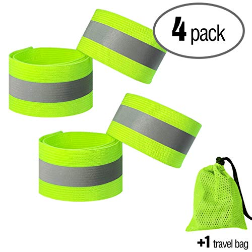 - PeerBasics, 4 Pack Runner Safety Band with Mesh Bag, Adjustable, Lime Reflective High Visibility, Hi Vis Silver Strip, Men & Women, Cycling, Running, Walking (Lime Elastic, 4)