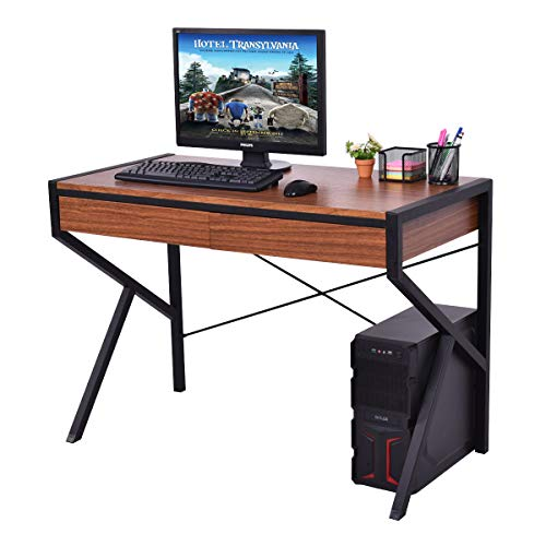Tangkula Computer Desk, PC Laptop Desk Modern Simple Style Study Writing Table, Home Furniture Office Workstation with Storage Drawers Wood