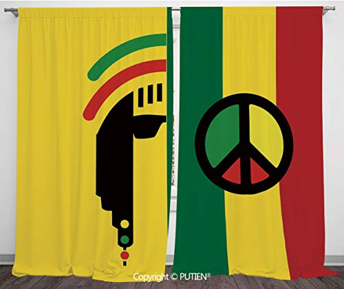 Satin Window Drapes Curtains [ Rasta,Iconic Barret Reggae and Jamaican Music Culture with Peace Symbol and Borders Decorative,Red Green Yellow ] Window Curtain Window Drapes for Living Room Bedroom Do