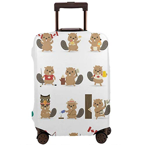Luggage Cover Set Of Beavers Unique Travel Suitcase Cover Protector Bag Dustproof Washable Fits 18-32 Inch Luggage ()