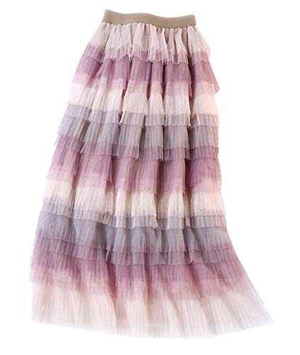 - Femirah Women's Long Rainbow A Line Tulle Tutu Skirts Tiered Skirt Petticoat (Purple)