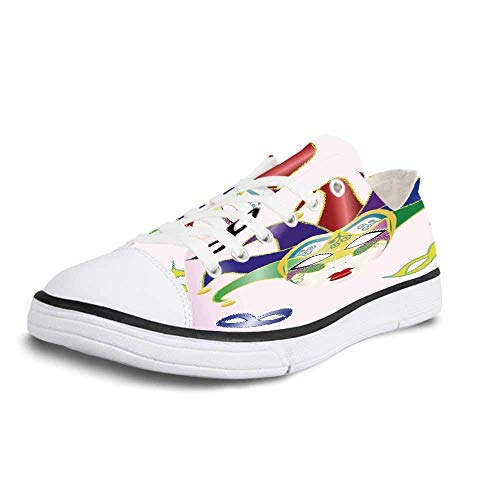 Canvas Sneaker Low Top Shoes,Masquerade Abstract Style Illustration of Christmas Carnival Masks Jester Design Print Man 10 ()