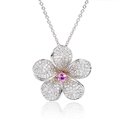 Unique Franconia series limited-time group purchase 3999 18k platinum flower diamond necklace with sapphire set powder birthday gift present necklace for women - Moissanite Sapphire Necklace