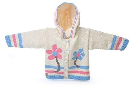 Niña de Algodón Orgánico flor sudadera con capucha - Tejido a mano Talla:6-12 meses: Amazon.es: Bebé