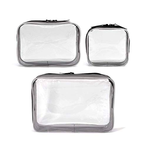 3 Pack Clear Cosmetics Makeup Bags, Waterproof Plastic Travel Toiletry Organizer Cases (Small Medium Large Size)