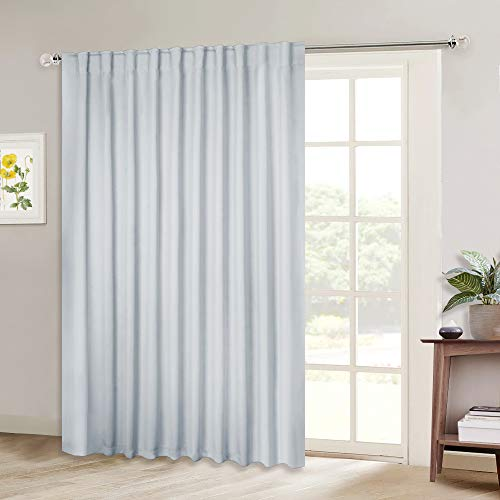 NICETOWN Patio Door Curtain Vertical Blinds, Reduce Sunlight Rod Pocket & Back Tab Room Divider Curtain Panel for Furniture Protecting (Greyish White, 80 inches Wide x 84 inches Long, 1 PC) (Patio Nice)