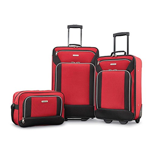 American Tourister Fieldbrook XLT 3pc Set (bb/ 21/25 Upright)), Red/Black