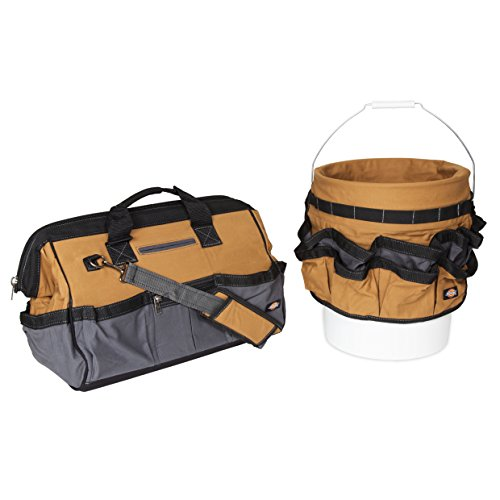 Dickies Work Gear 57093 18-Inch Bag and Bucket Organizer Combo Pack 8 Pocket Heavy Duty Work