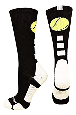 MadSportsStuff Tennis Logo Athletic Crew Socks (multiple colors)