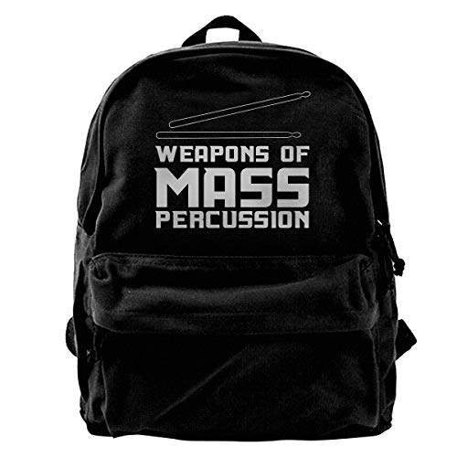 Hghthyuir Classic Canvas Backpack Weapons of Mass Percussion Unique Print Style,Fits 14 Inch Laptop,Durable,Black