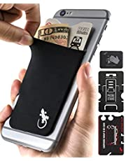 Gecko Adhesive Phone Wallet & RFID Blocking Sleeve, a Stick-On Stretchy Lycra Card holder Universally fits most Cell Phones & Cases. Xtra Tall Pocket Totally Covers Credit Cards & Cash
