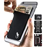 A Card Holder by Gecko - Phone Wallet Stick on - Credit Card Holders for iPhone and Cell Phone - Black/White