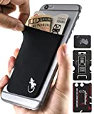 Phone Wallet - Cell Phone Stand - Adhesive Card Holder - Phone Pouch - Stick on Lycra Pocket by Gecko - Carry Credit Cards and Cash - Black White