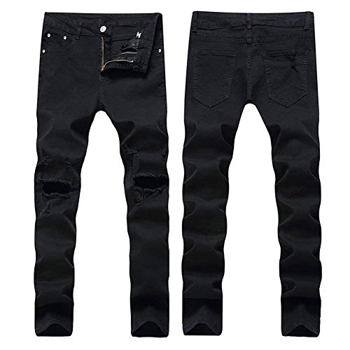 Unita Distrutti Strappata Hx Fashion Da Jeans Abiti Dritti Pantaloni Matita Slim A Nero Tinta Buchi Chern Con Comode Uomo Bt Taglie qq861