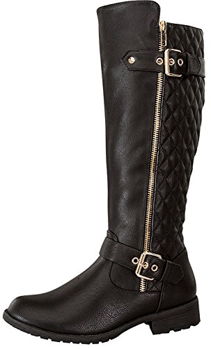 Top Moda Women's Bally-32 Knee High Quilted Leather Riding Boot (8.5, Black)