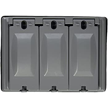 3 Gang Weatherproof Outdoor Electrical Bell Box Gray Cover Plate
