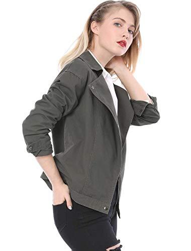 Mode Monocromo Cappotto Manica Bavero Giacche Sciolto Autunno Lunga Donna Outerwear Giubbino Marca Outdoor Grau Ragazze Di Casual Primaverile Eleganti Giovane Leggero Bolawoo xfqzFpp