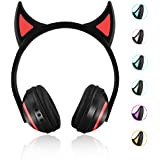 Kids Wireless Bluetooth Headphone 7 Colors LED Light Flashing Glowing Devil Ear Cosplay On-Ear Stereo Headset with Mic Compatible with Smartphones PC Tablet
