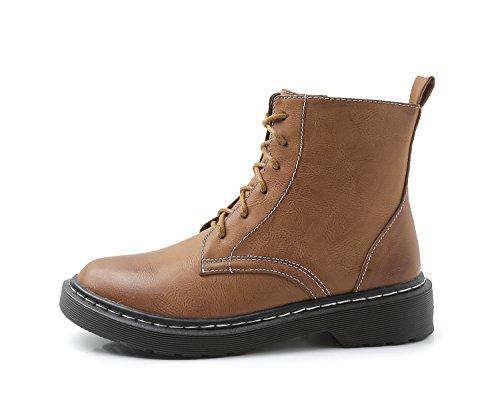 Minotta HB-4 Women's PU Winter Flat Combat Boots Girls Dress Short Boot Brown 0FSCZ