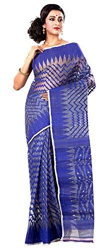 RLBFashion Women's Cotton Silk Handloom Dhakai Jamdani Saree (Blue)