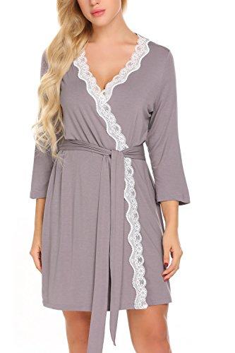 Zouvo Women Sleepwear Nightwear Kimono Robe Solid Winter Cotton Bathrobe Belt Bathroom Spa - Robe Lace Jersey
