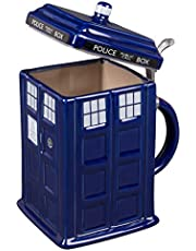 Doctor Who TARDIS Beer Stein - Collectible Dr. Who Ceramic Mug with Pewter Metal Hinge - Large 50oz