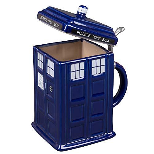 Doctor Who TARDIS Beer Stein - Collectible Ceramic Police Box Mug with Pewter Metal Hinge - Large 50oz