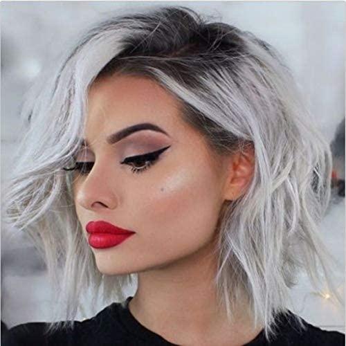 Amazon Com 2019 Summer Style Flawless Wob Hair Wavy Bob Hair Dirty Blonde Hair Dark Rooted Gray Lace Front Wigs For Women Shoulder Length 35cm Wavy Gray Wigs With Gray Roots Realistic