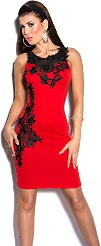 KouCla K9103 - Elegante vestido de noche con bordados e insertos transparentes, varios colores, talla S-L Rojo