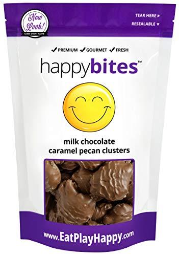 (Happy Bites Milk Chocolate Caramel Pecan Clusters - Pure Milk Chocolate - Resealable Pouch Bag (12 oz))
