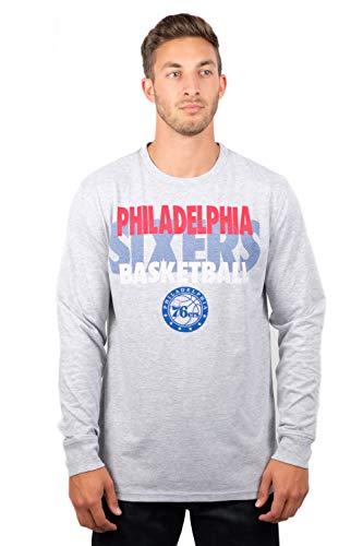 Ultra Game NBA Philadelphia 76ers Men's Supreme Long Sleeve Pullover Tee Shirt, Large, Gray
