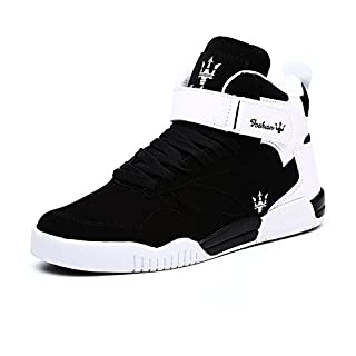 FZUU Men's Fashion High Top Leather Street Sneakers Sports Casual Shoes (10 US= EU 44, Black)