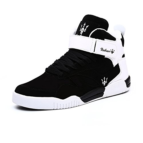 FZUU Men's Fashion High Top Leather Street Sneakers Sports Casual Shoes (9, Black) from FZUU