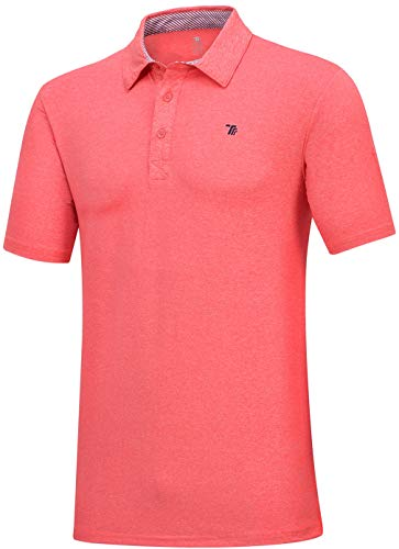 MoFiz Men's Short Sleeve Golf Polo Shirt Regular Fit Polo Athletic Shirt (L,Orange)