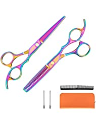 Kilajojo Hair Scissors and thinning shears set - Professional Barber Scissors/barber Shears - Sharp Edges and Rainbow Color Hair Shears/thinning scissors with Case (set)